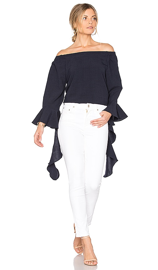 J.O.A. Off The Shoulder Flare Sleeve Top in Blue