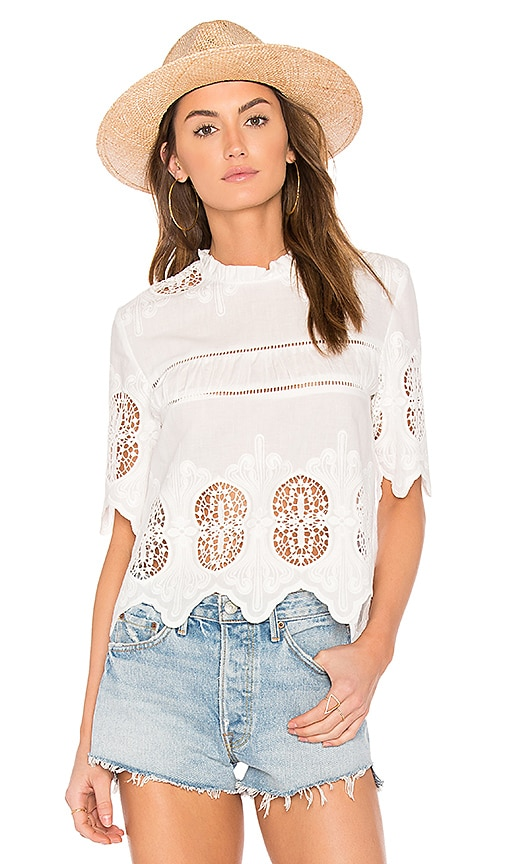 J.O.A. Scalloped Lace Mix Top in White