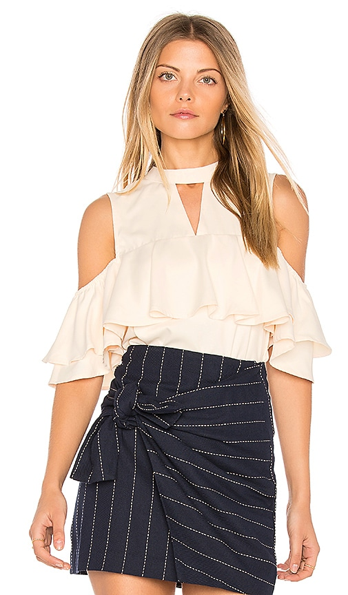 J.O.A. Layered Ruffle Cold Shoulder Top in Ivory