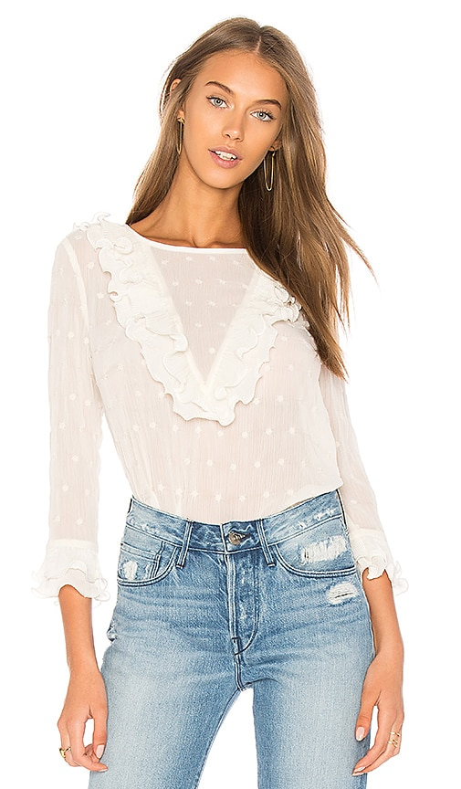 J.O.A. Ruffle Neck Embroidered Top In Ivory