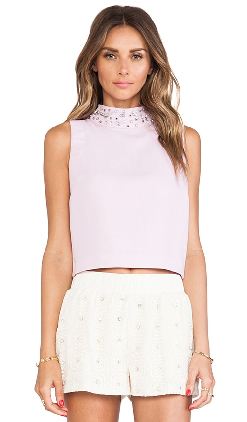 Embellished High Collar Sleeveless Cropped Top