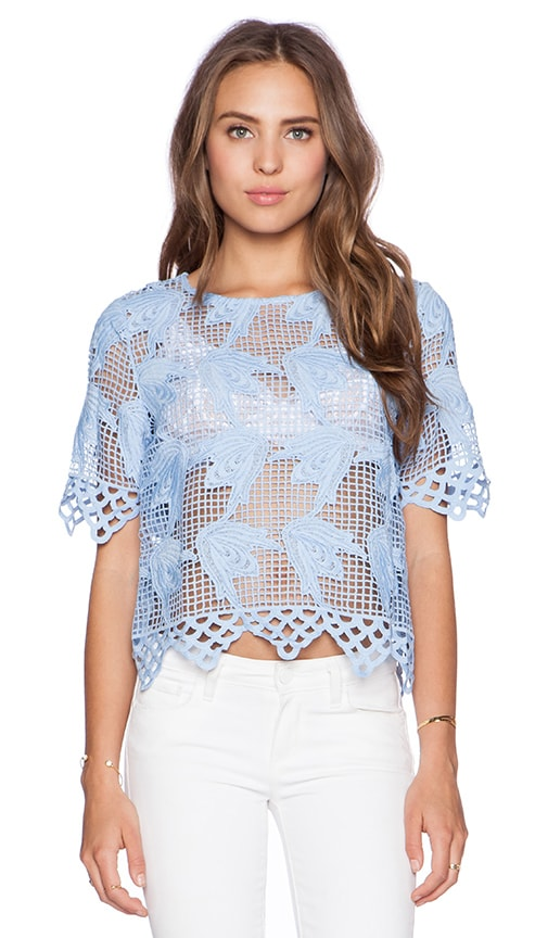 J.O.A. Lace Top in Baby Blue
