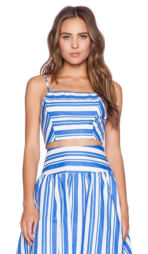 J.O.A. Striped Crop Top in Blue