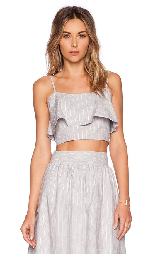 J.O.A. Double Layer Crop Top in Ivory & Navy
