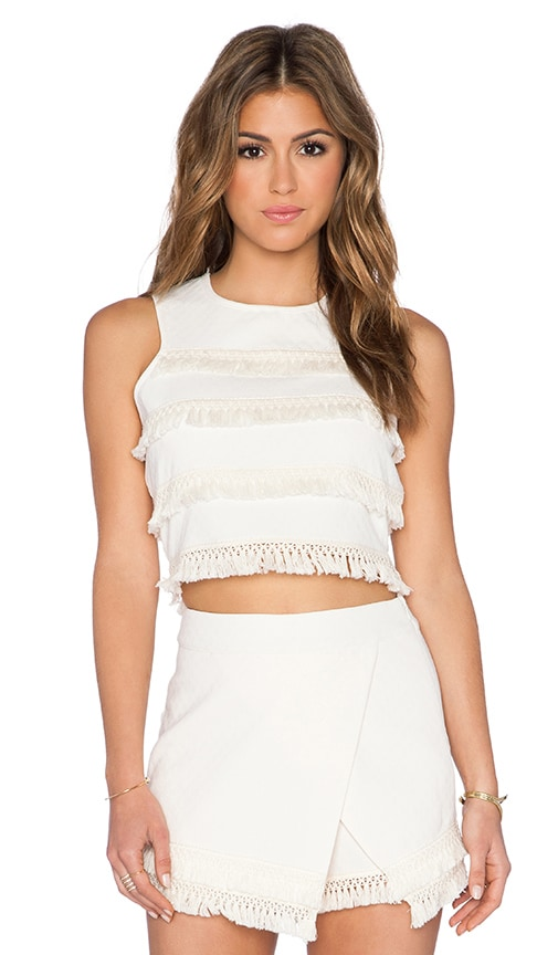 J.O.A. Fringe Top in Ivory