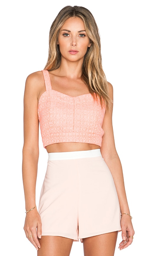J.O.A. Jacquard Bustier Crop Top in Neon Coral