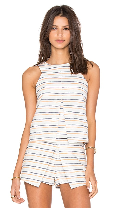 J.O.A. Sleeveless Stripe Top in White