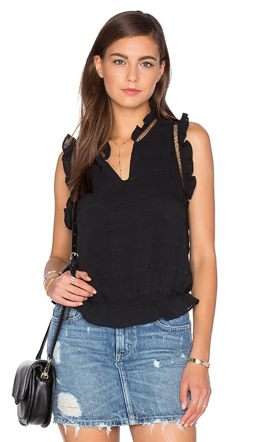 J.O.A. Ruffle Sleeveless Front Keyhole Top in Black