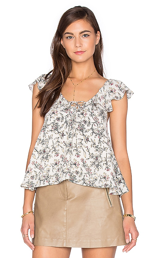 J.O.A. Sleeveless Floral Blouse in Gray