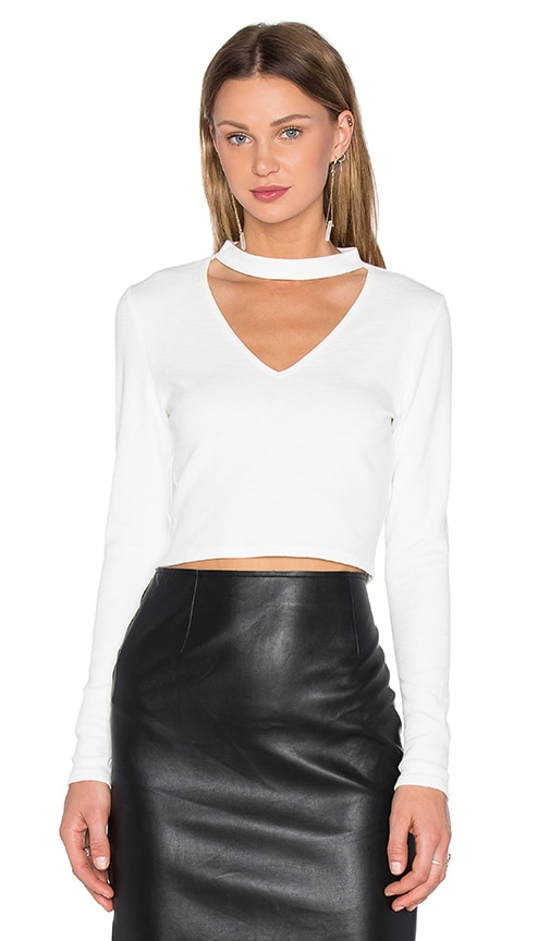 J.O.A. Long Sleeve High Neck Top in Ivory