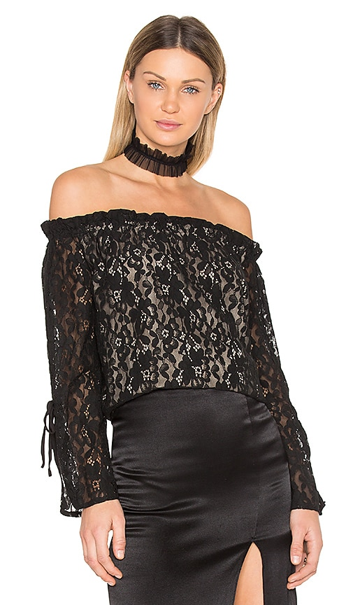 J.O.A. Lace Off the Shoulder Top in Black