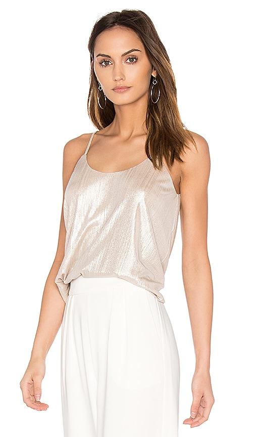 J.O.A. Scoop Neck Tank in Metallic Gold