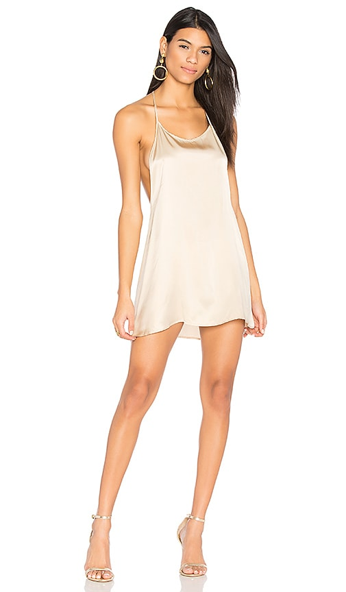 JOAH BROWN Silk T Back Dress in Cream