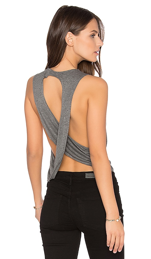 JOAH BROWN Half Moon Crop Top in Gray