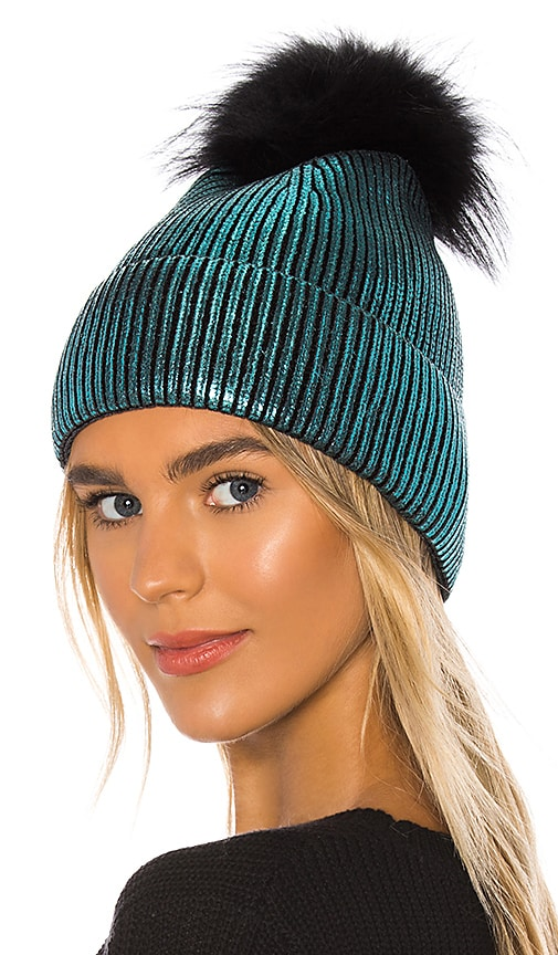 Metallic Silver Fox Fur Pom Beanie
