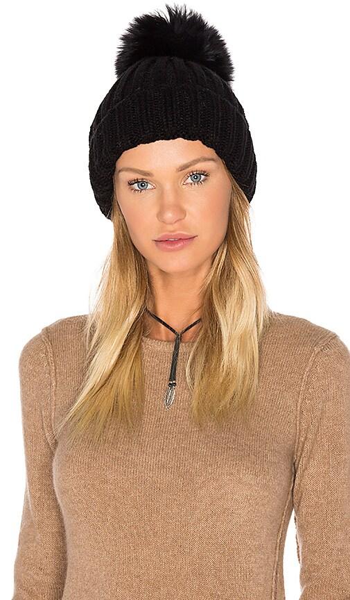 Dyed Blue Fox Pom Knit Hat