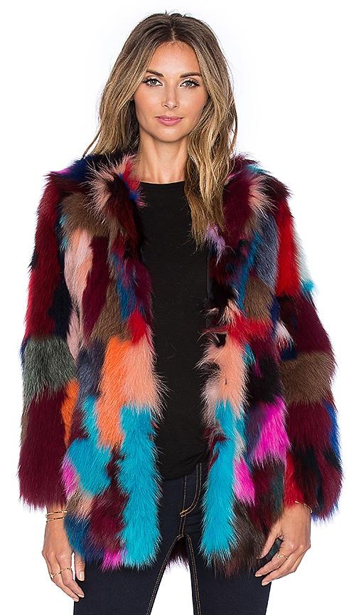 jocelyn Dyed Fox Belly Fur Jacket in Multi