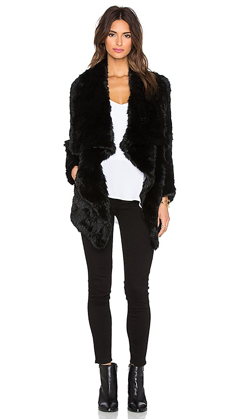 Dyed Rabbit Fur Asymmetrical Jacket