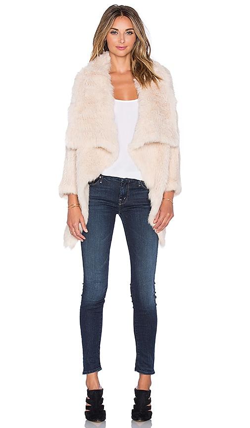 jocelyn Rabbit Fur Asymmetrical Jacket in Sand