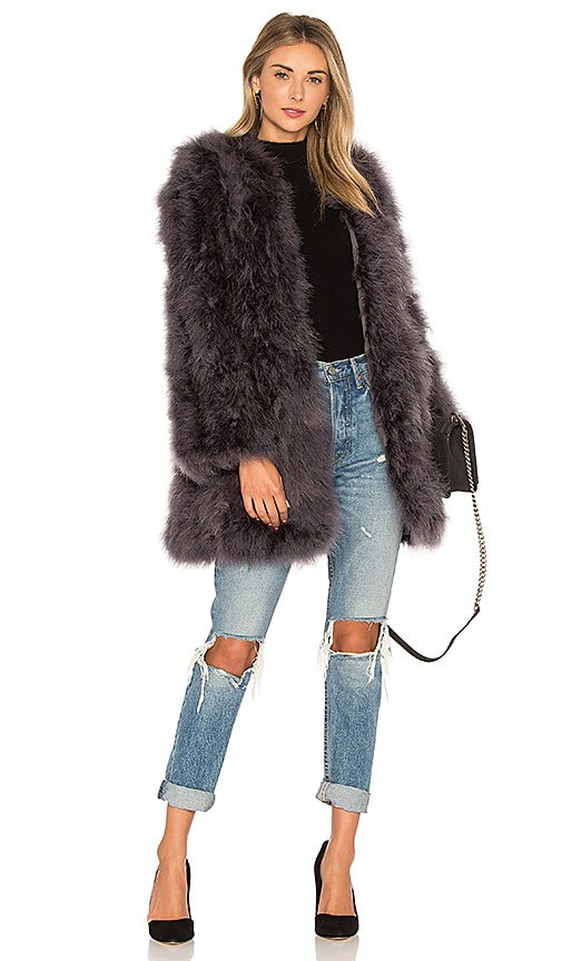 jocelyn Collarless Feather Coat in Charcoal