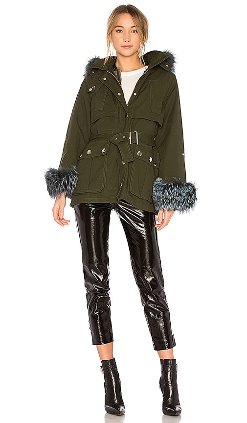jocelyn Swing Jacket With Rabbit Liner & Fox Trim in Green