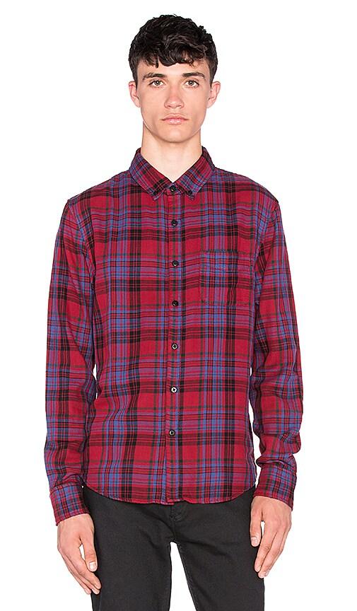 Joe's Jeans Slim Fit Shirt Double Woven Plaid in Carmine Black Plaid
