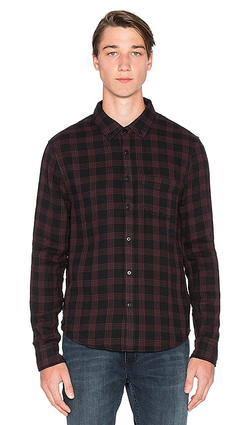 Joe's Jeans Slim Fit Shirt Double Woven Plaid in Black Mustang