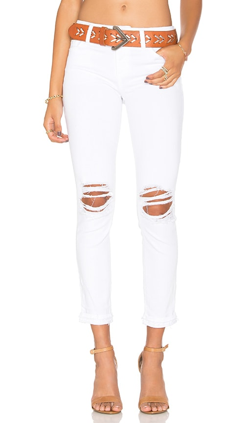Joe's Jeans Danika Play Dirty Stay Spotless The Markie Crop in Optic White Distressed
