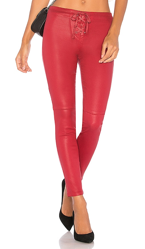 Joe's Jeans Lace Up Front Jean in Red Coated