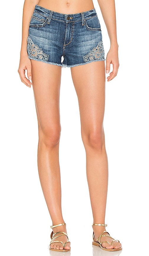 Joe's Jeans Embroidered Cut Off Short in Medium Blue Embroidered