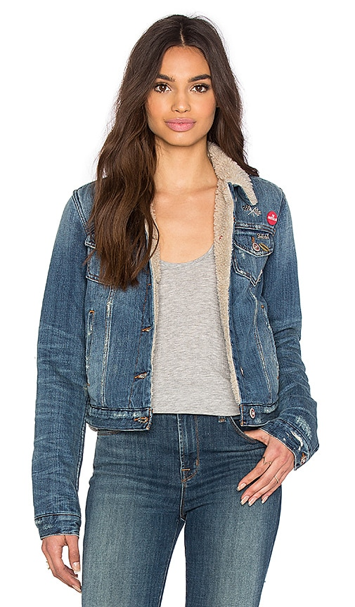 Joe's Jeans Barella Collector's Edition Joey Shearling Crop Jacket in Light Blue Distressed