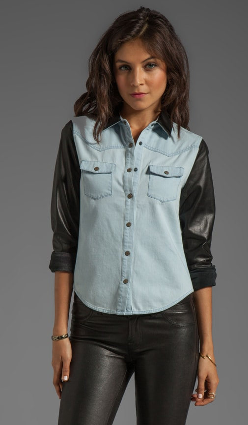 Denim with Leather Western Shirt