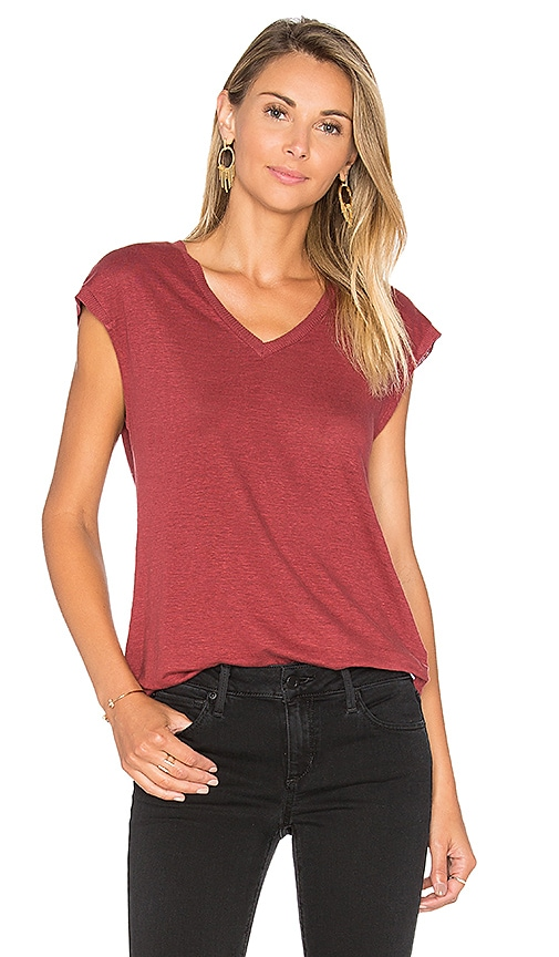 Joe's Jeans Lennox V Neck Tee in Red