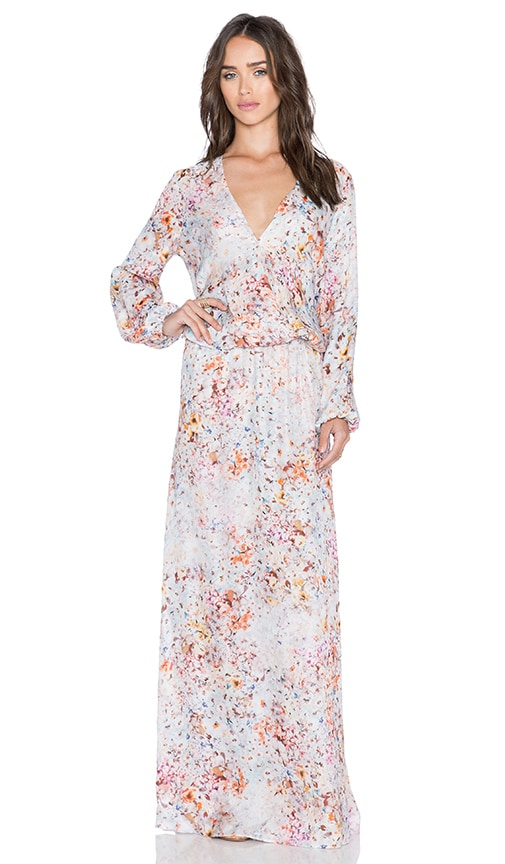 Johanne Beck Hera Wrap Front Maxi Dress in Winter Garden