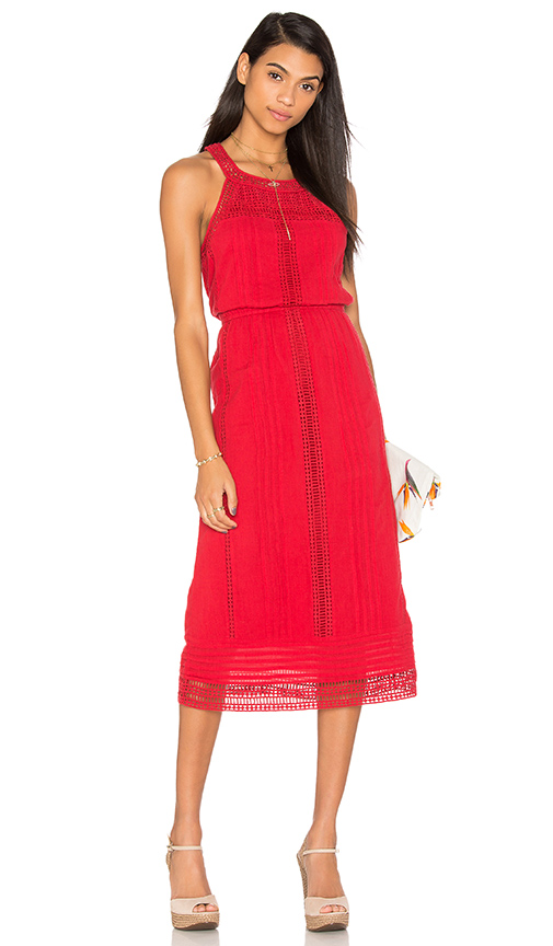 Joie Dance Midi Dress in Red