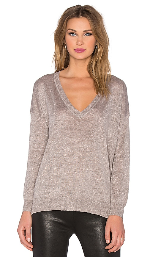 Joie Calee V Neck Sweater in Heather Mushroom