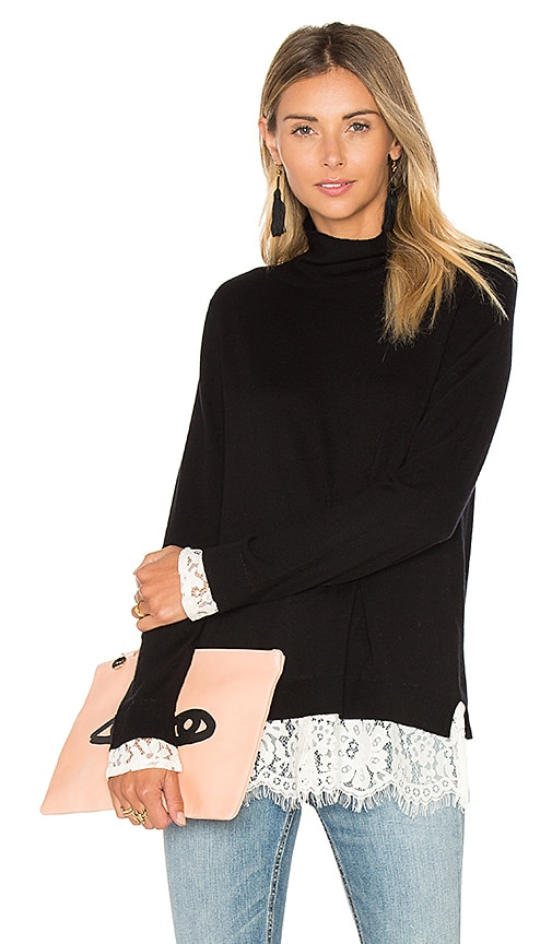 Joie Fredrika Lace Sweater in Black & White