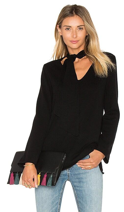Joie Delores Neck Tie Sweater in Black