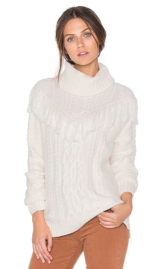 Joie Viviam Fringe Sweater in White