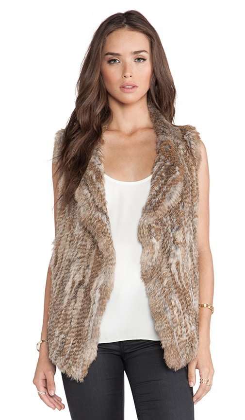 Joie Andoni Rabbit Fur Vest in Beige