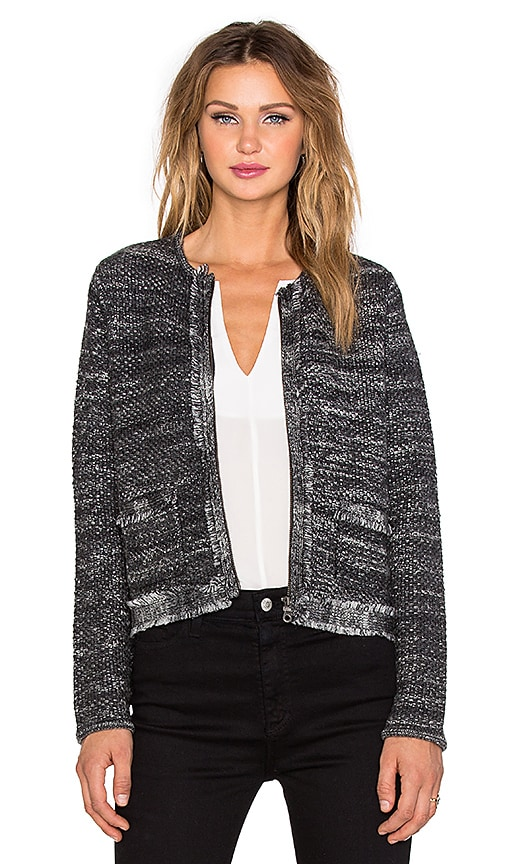 Joie Basket Weave Porsha Jacket in Ebony & Shimmer