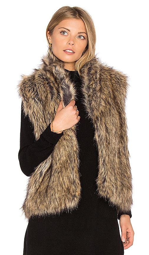 Joie Pruce Faux Fur Vest in Brown
