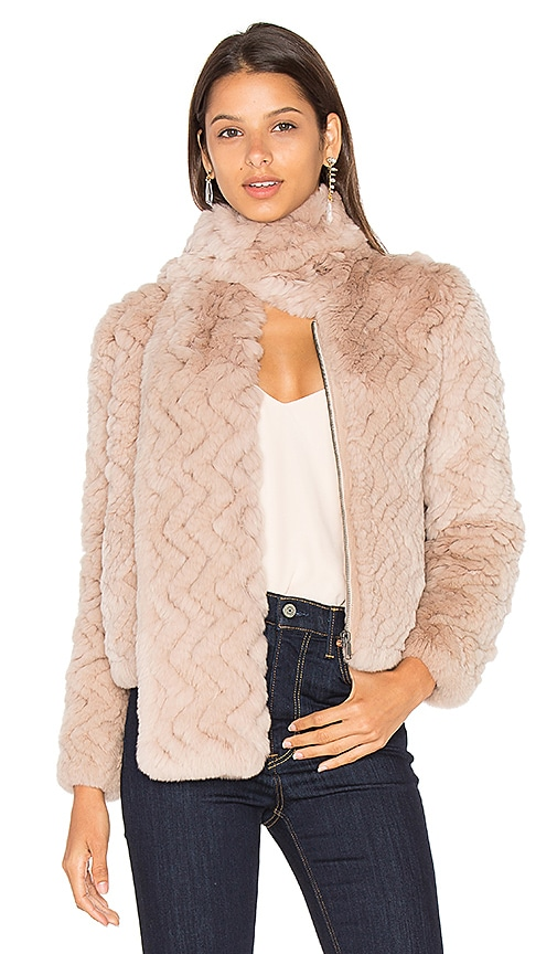Joie Sela Rabbit Fur Jacket in Beige
