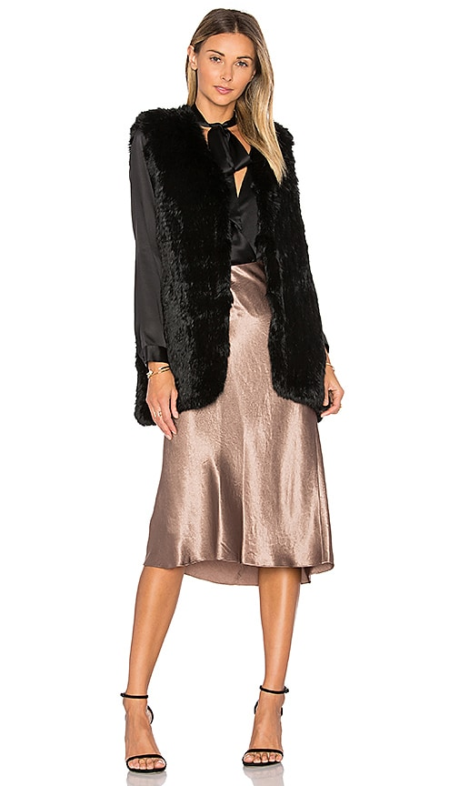 Joie Bijou Rabbit Fur Vest in Black