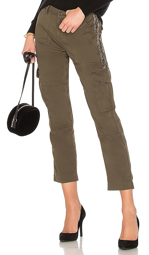Joie Embellished Cargo Pant in Green