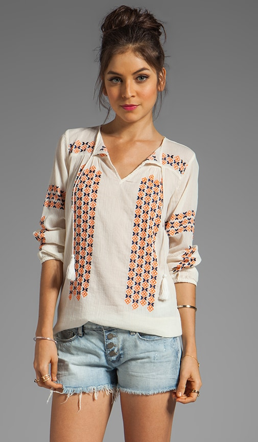 Nira Geo Embroidery Top