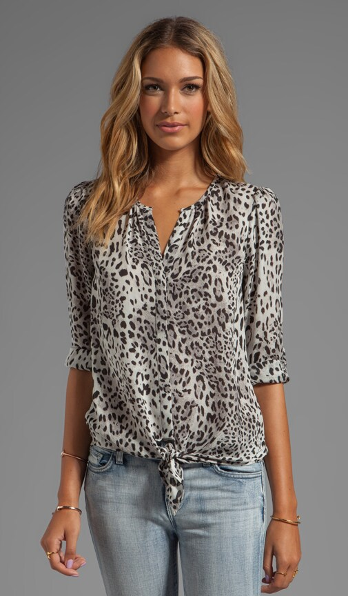 Gradient Leopard Printed Matte Silk Blouse