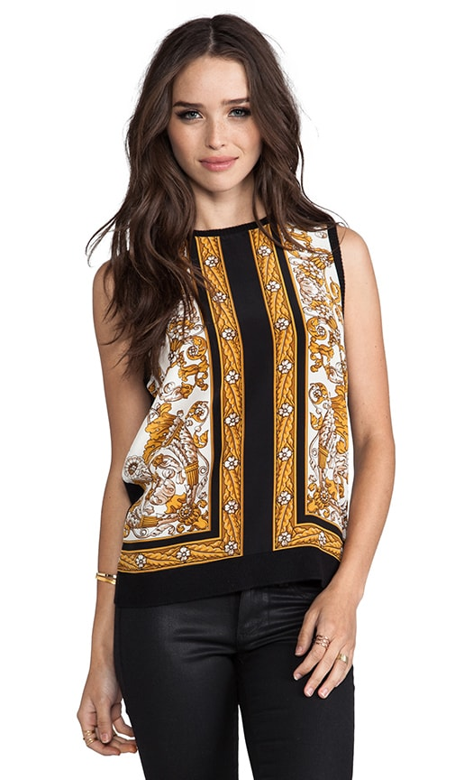 Solid With Scarf Print Sakura Sleeveless Top