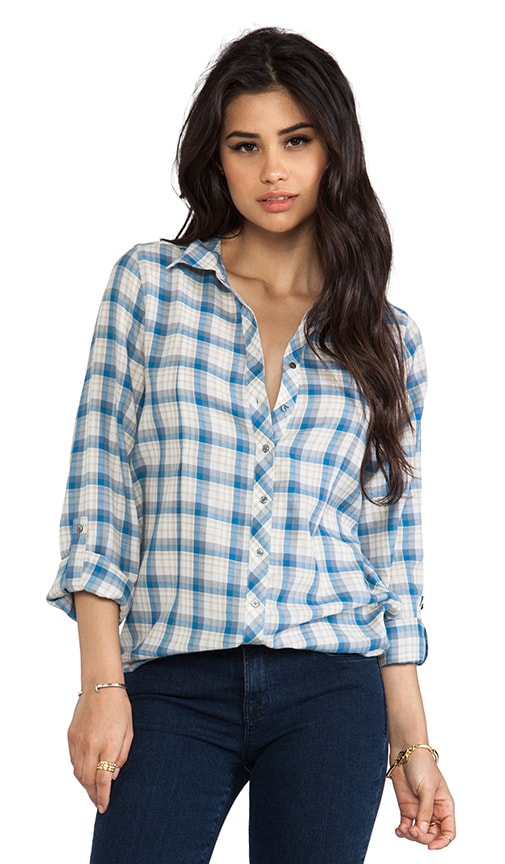 Moshina b Grungy Plaid Blouse