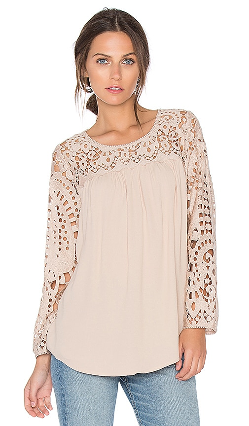 Joie Lindy Lace Blouse in Blush